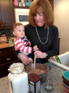 Helping Nana make desert