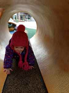 Fun crawling through 'logs'