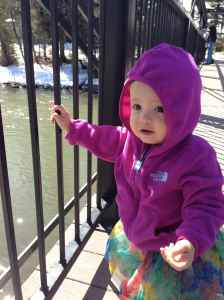 Walking over the river to the playground in Silverthorne