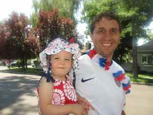 Dad and Emma all smiles at Minden parade