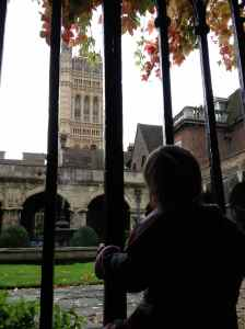 Checking out Big Ben from Westminster Abbey