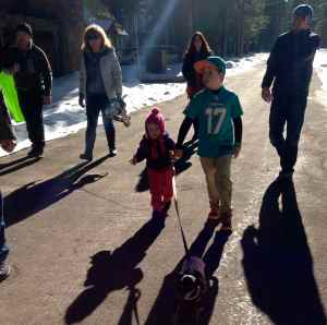 Family walk in Tahoma, helping to walk Poppy with Kyle.