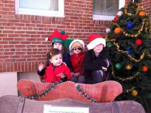 All four cousins in a sleigh.